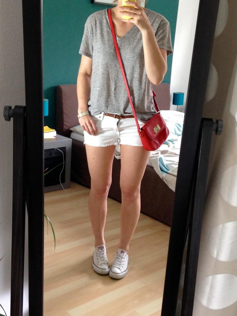 White Shorts Grey Shirt Outfit - Capsule Wardrobe