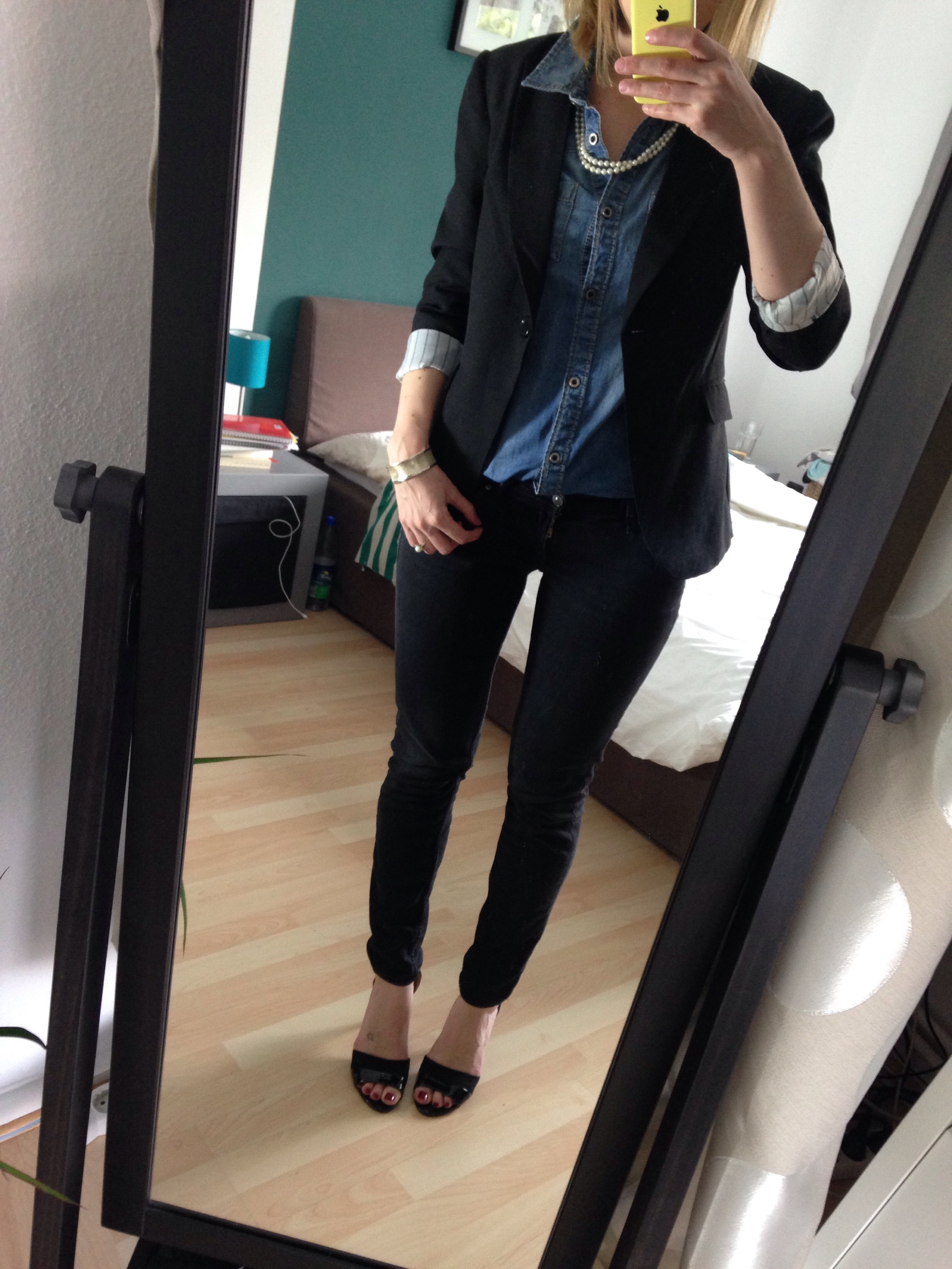 Outfit Jeanshemd Blazer chic
