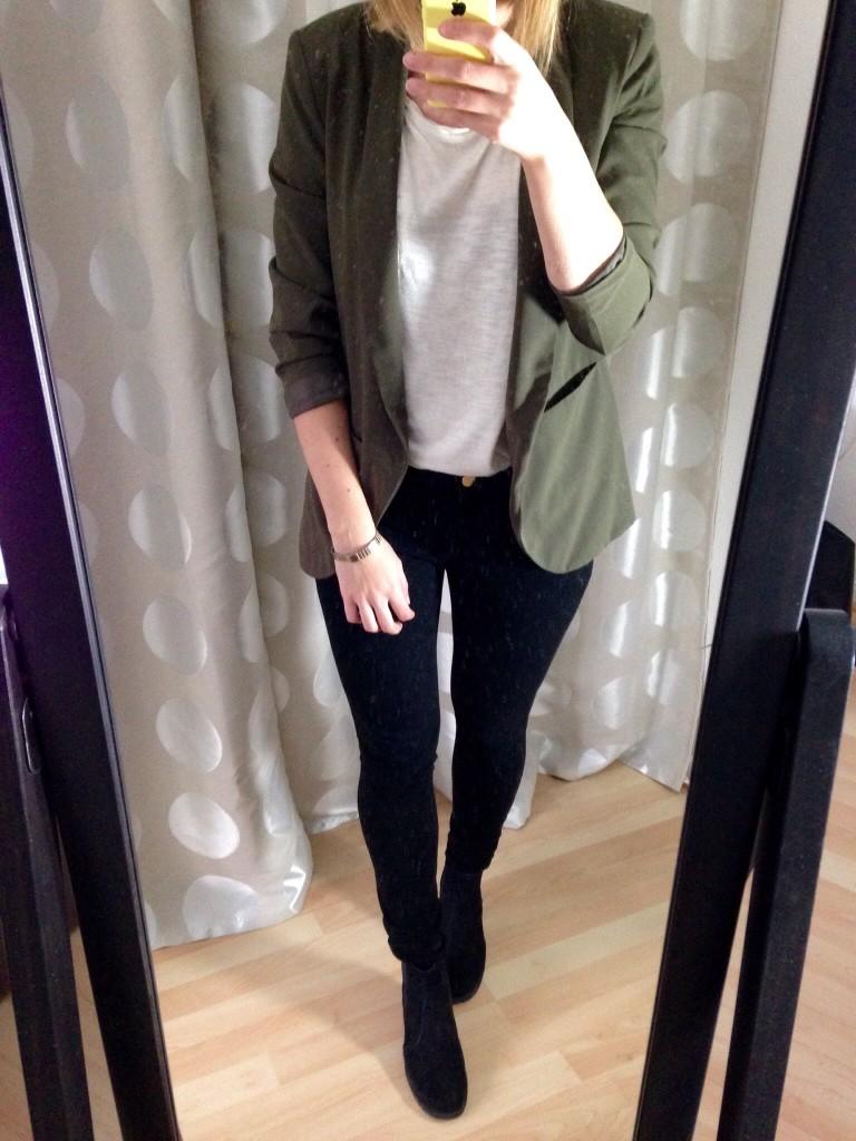 Olivgrüner Blazer Outfit