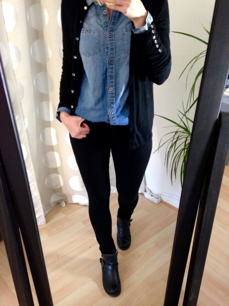 Jeans-Hemd Strickjacke Outfit 2
