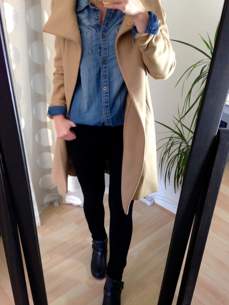 Jeans-Hemd Trenchcoat Outfit 3