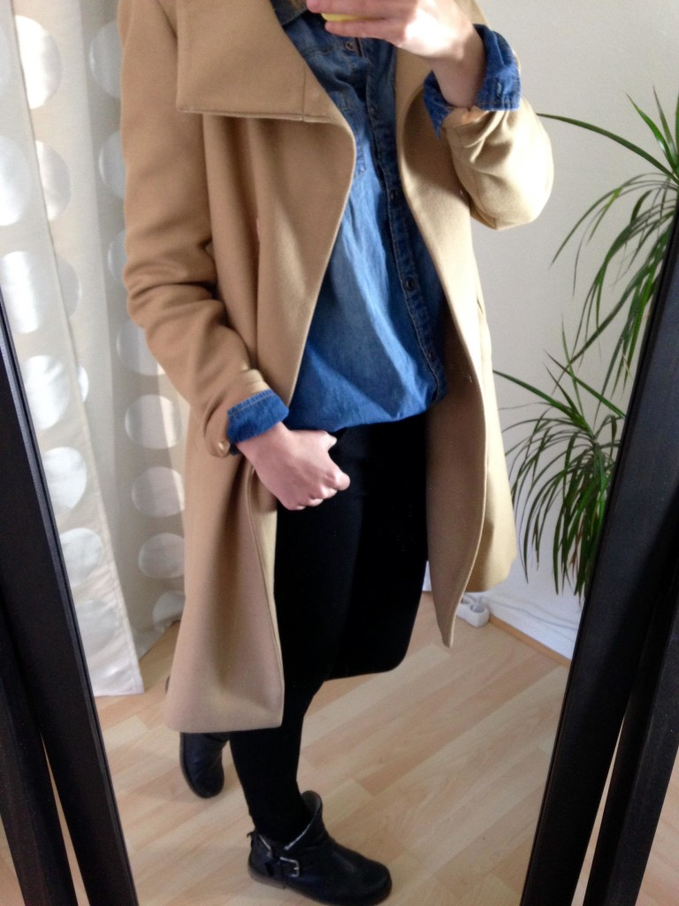 Jeans-Hemd Trenchcoat Outfit 4