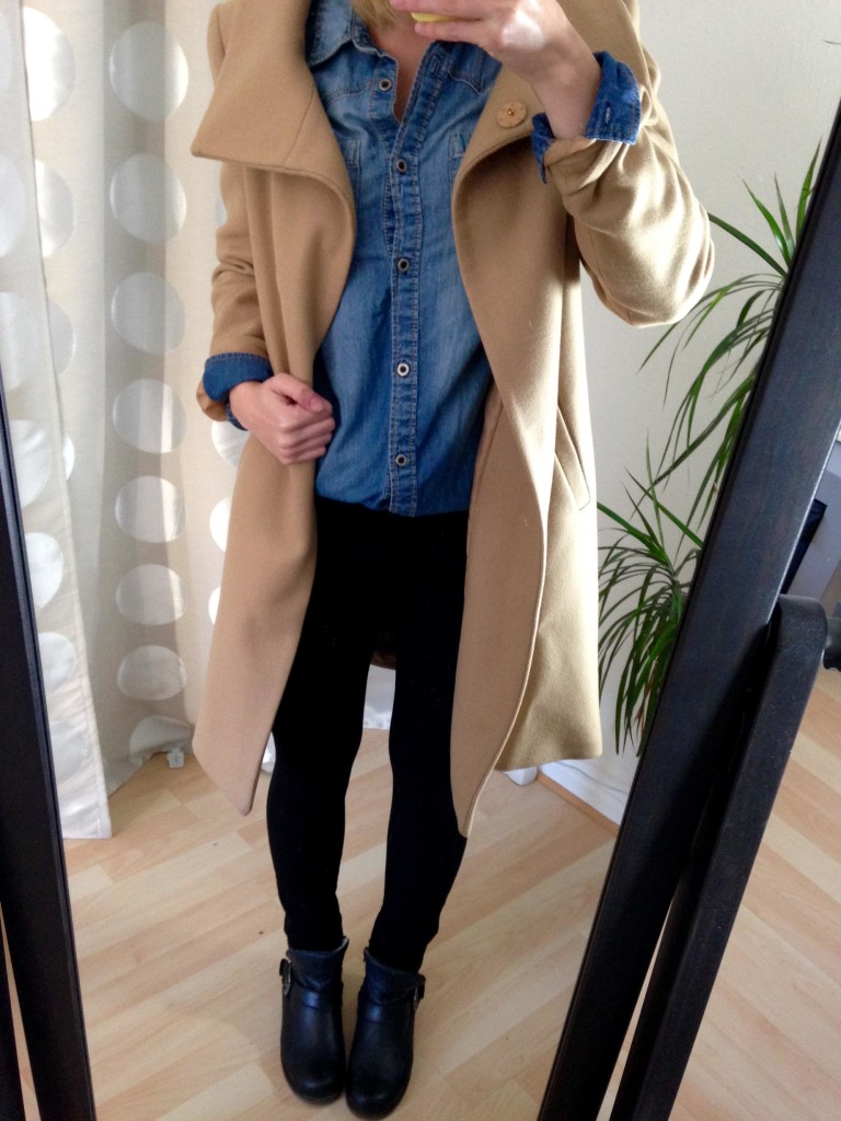 Jeans-Hemd Trenchcoat Outfit