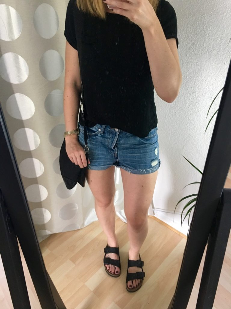 Jeansshorts Birkenstock Outfit