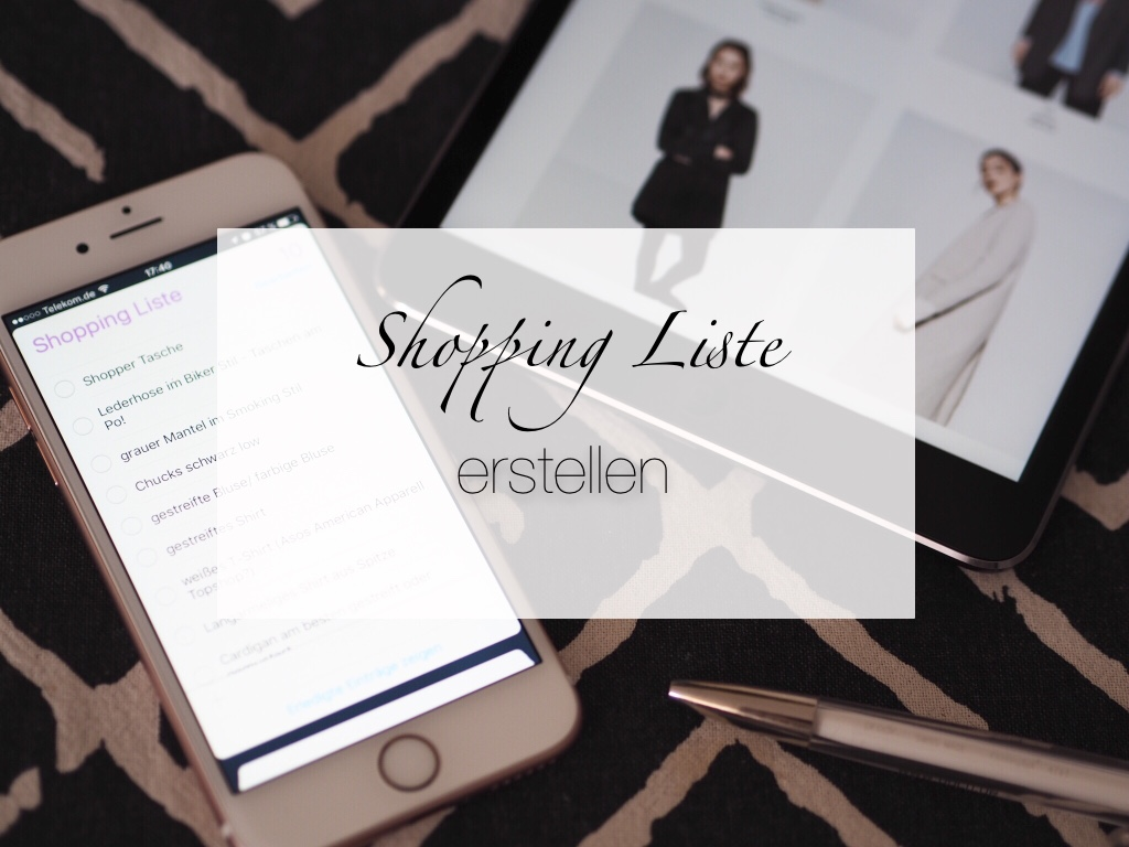 Shopping Liste Klamotten erstellen