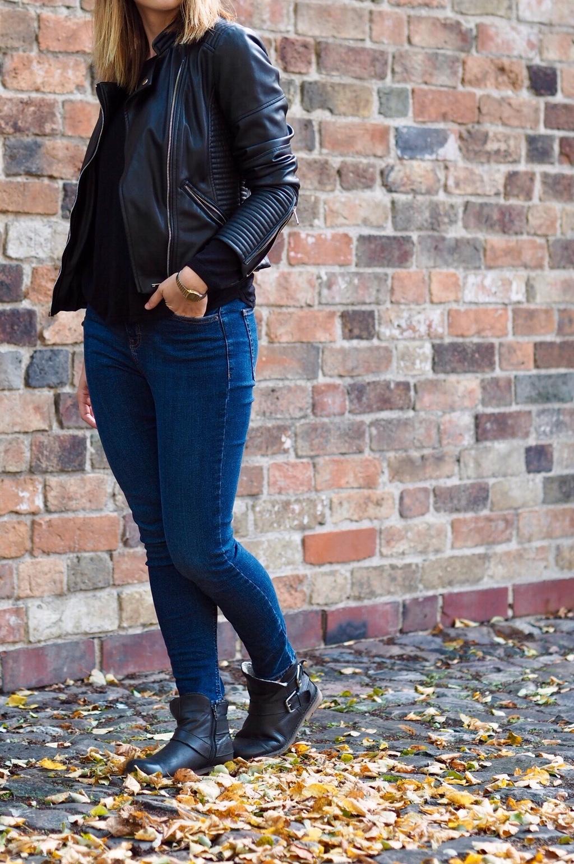 Jeans Lederjacke Boots Herbst 2016