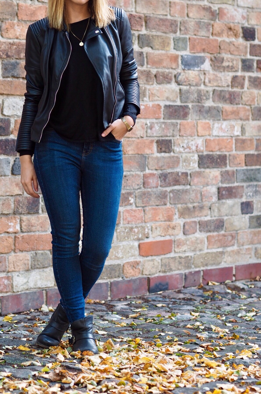 Lederjacke Jeans Herbst Outfit 2016