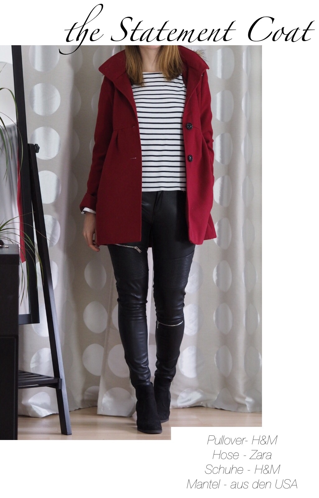 Roter Mantel Zara Lederhose Winter Outfit 2016