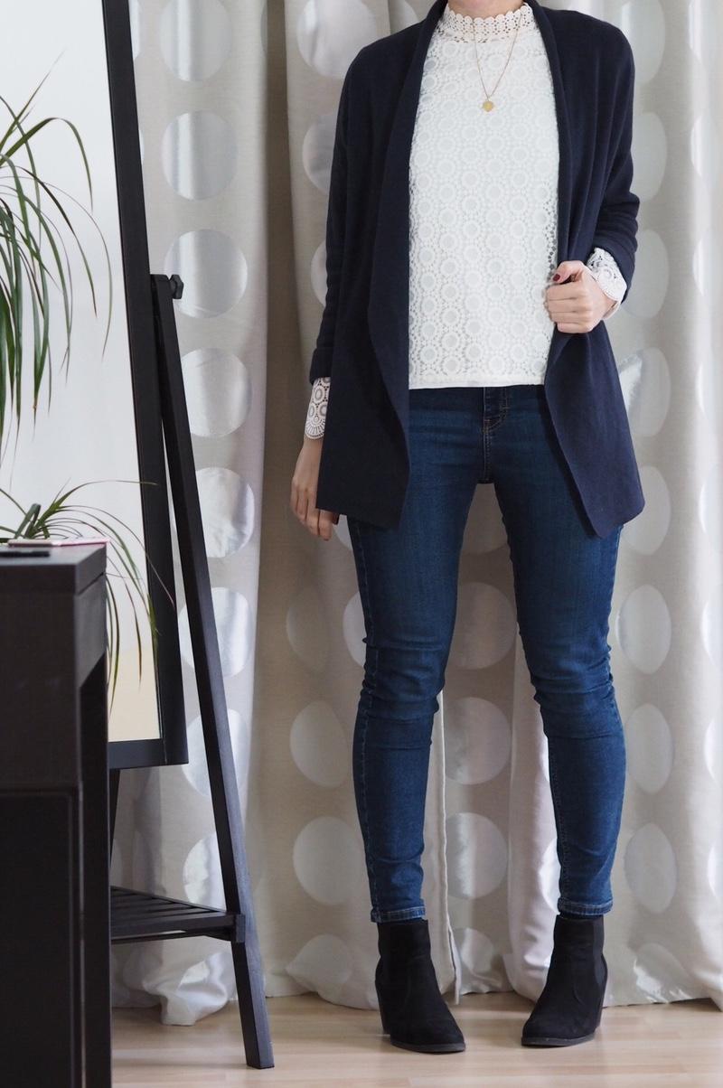 Spitzenbluse Topshop Jamie Jeans Cardigan Outfit