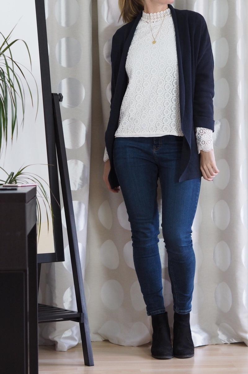 Spitzenbluse Winter Capsule Wardrobe 2016 Jamie Jeans Navy Cardigan