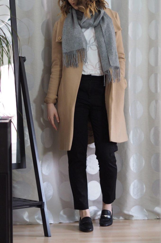 Slacks Beiger Mantel Outfit Winter 2016
