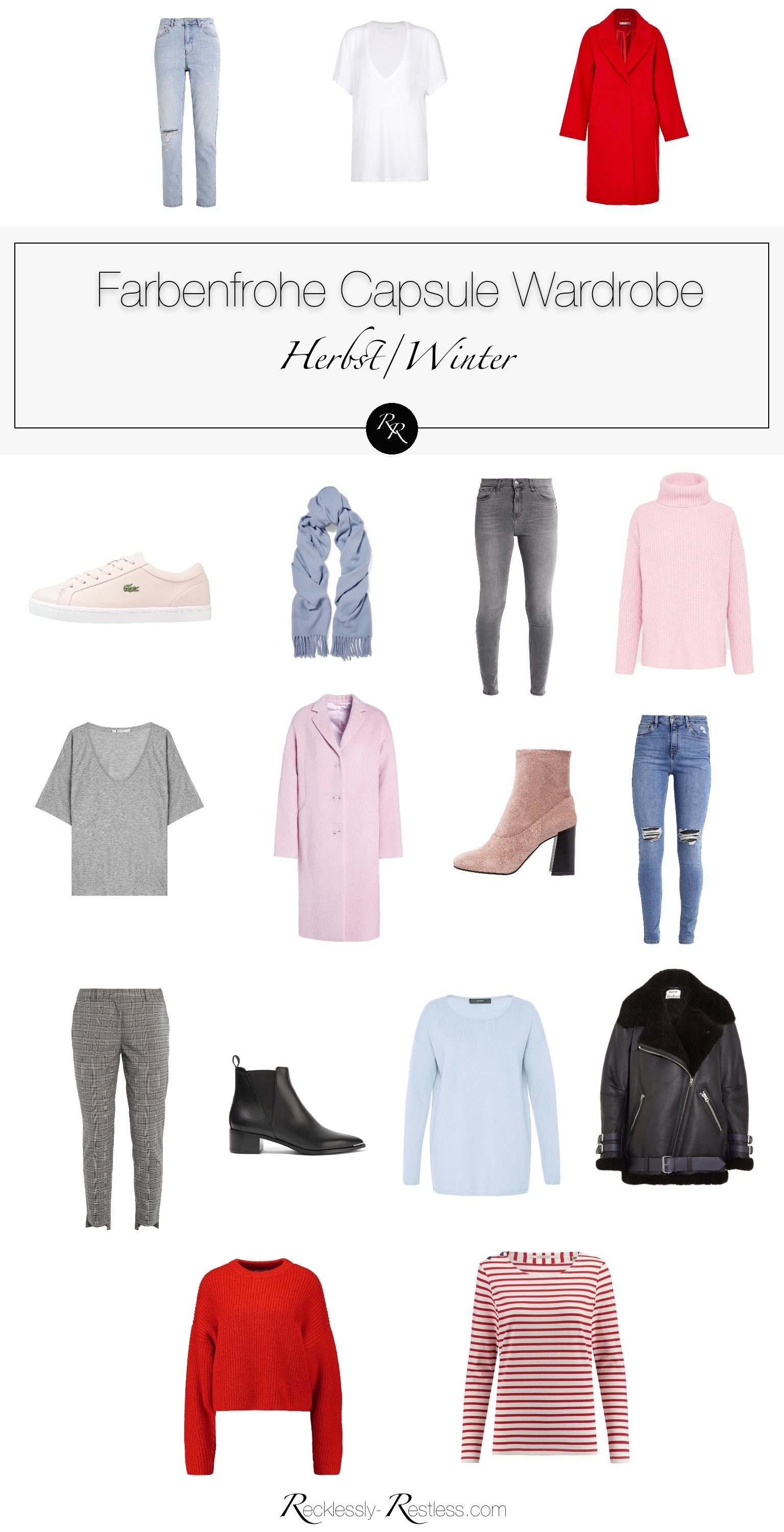 farbenfrohe mode Capsule Wardrobe Winter grau rosa rot