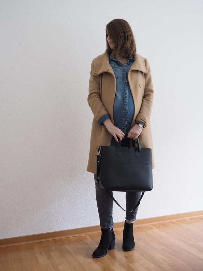 Jeanshemd-Camel-Coat-Outfit-Umstandsmode-Schwangerschaftsoutfit-Winter-2018