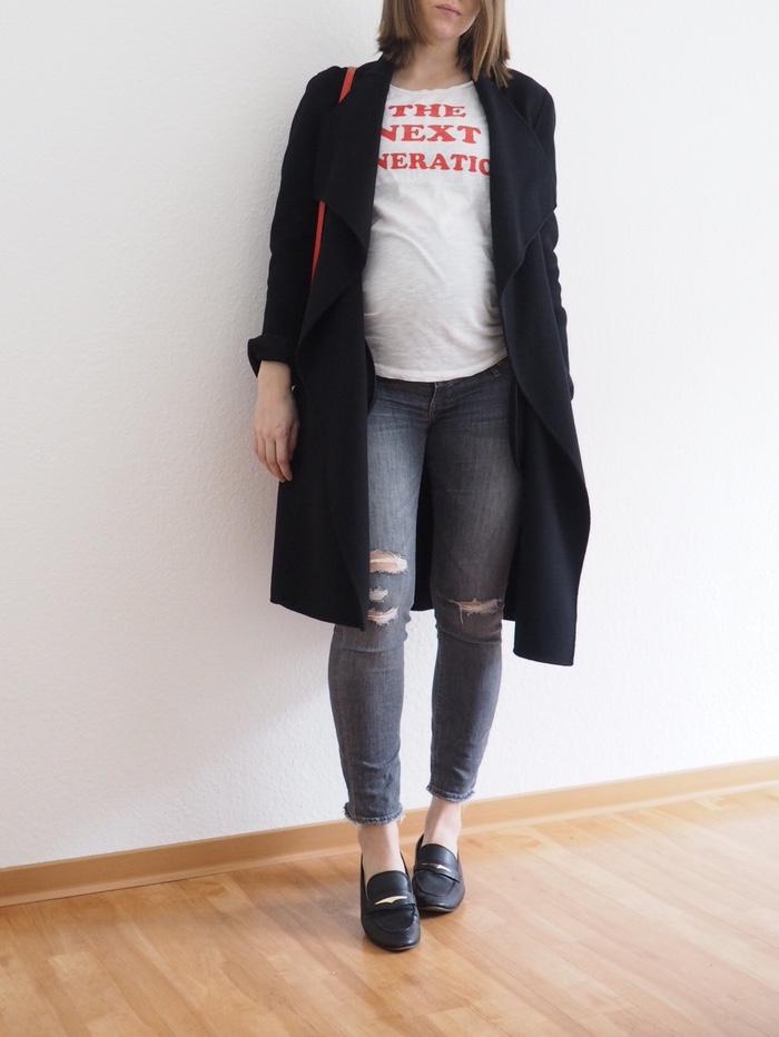 Umstandsmode-Winter-Schwangerschafts-T-Shirt-Outfit