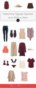farben kombinieren mode kleidung sommer - warm capsule wardrobe